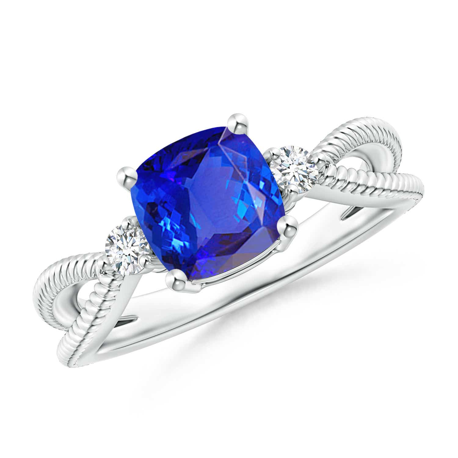 Angara Round Sapphire Halo Ring with Cushion Milgrain Detailing