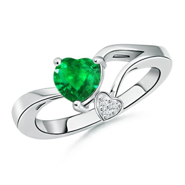 Emerald Double Heart Bypass Ring with Diamond - Angara.com