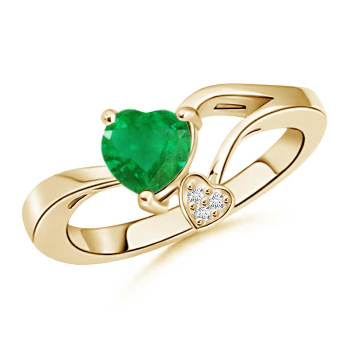 Emerald Double Heart Bypass Ring with Diamond