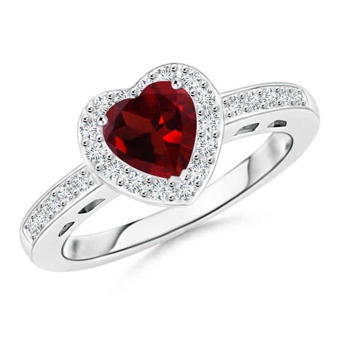 Heart Shaped Garnet Halo Ring with Diamond Accents - Angara.com