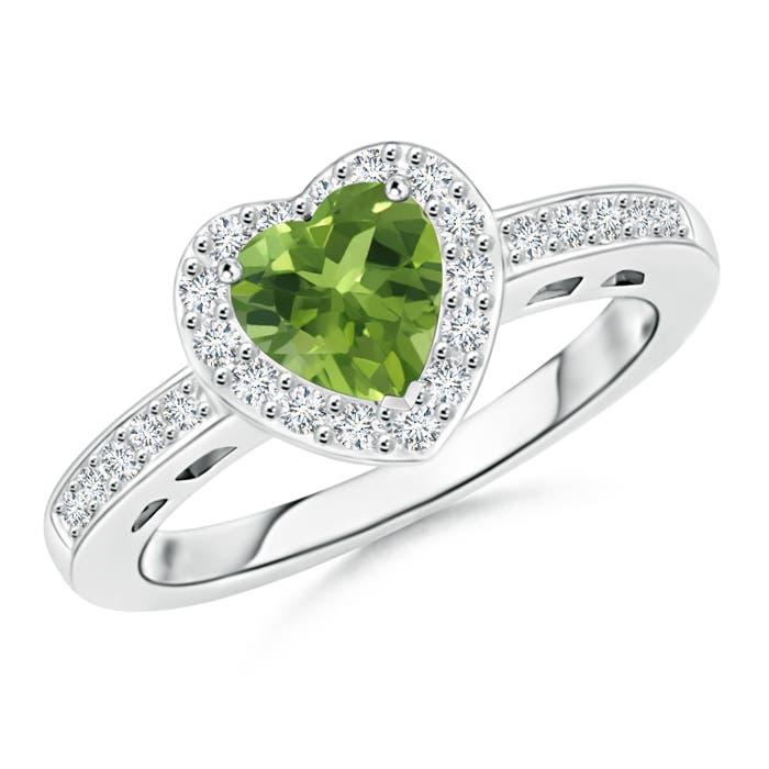 Heart Shaped Peridot Halo Ring with Diamond Accents - Angara.com