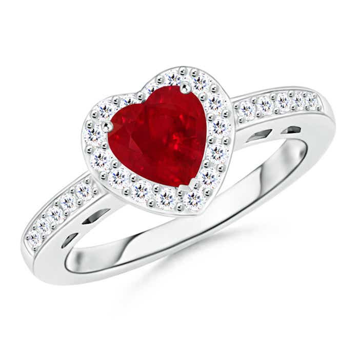 Heart Shaped Ruby Halo Ring with Diamond Accents - Angara.com