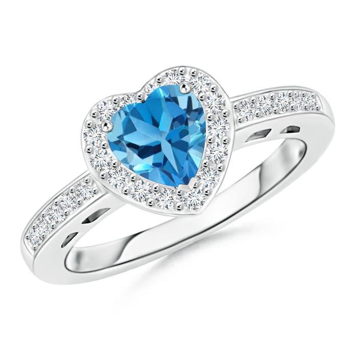 Heart Shaped Swiss Blue Topaz Halo Ring with Diamond Accents - Angara.com