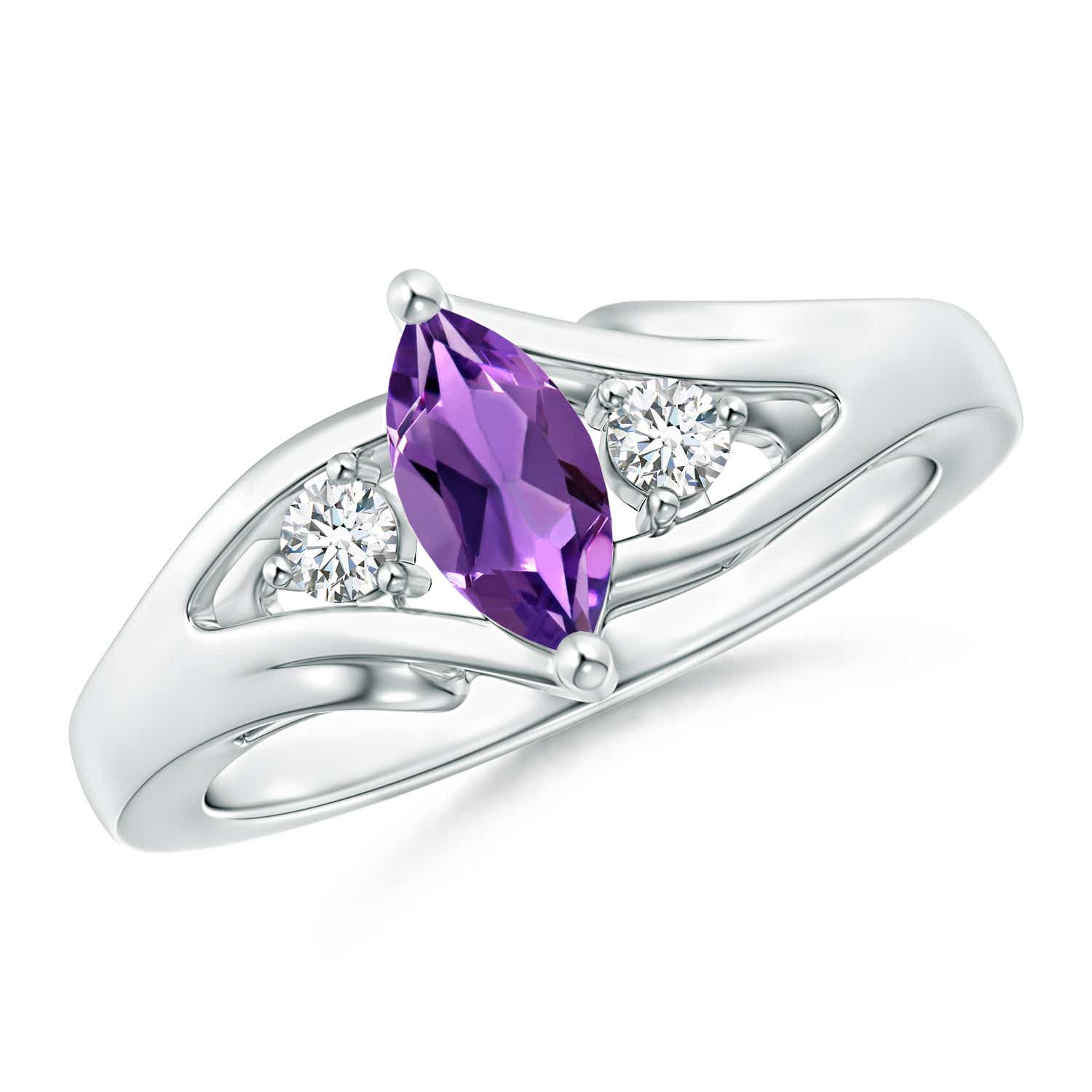 Solitaire Marquise Amethyst Split Shank Ring with Diamond Accents - Angara.com