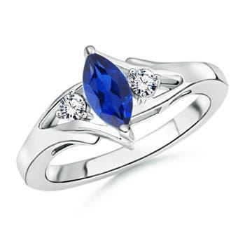 Split Shank Marquise Sapphire and Diamond 3-Stone Ring - Angara.com