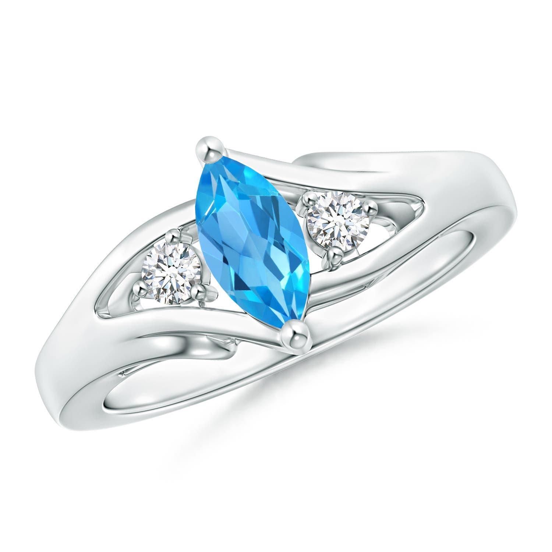 Solitaire Marquise Swiss Blue Topaz Split Shank Ring with Diamonds - Angara.com