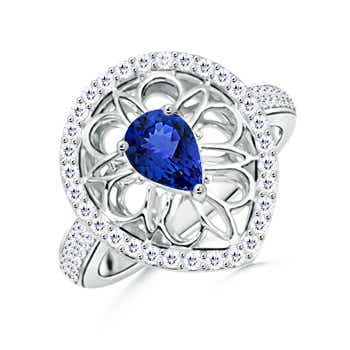 Vintage Pear Shaped Tanzanite Solitaire Ring with Latticework - Angara.com