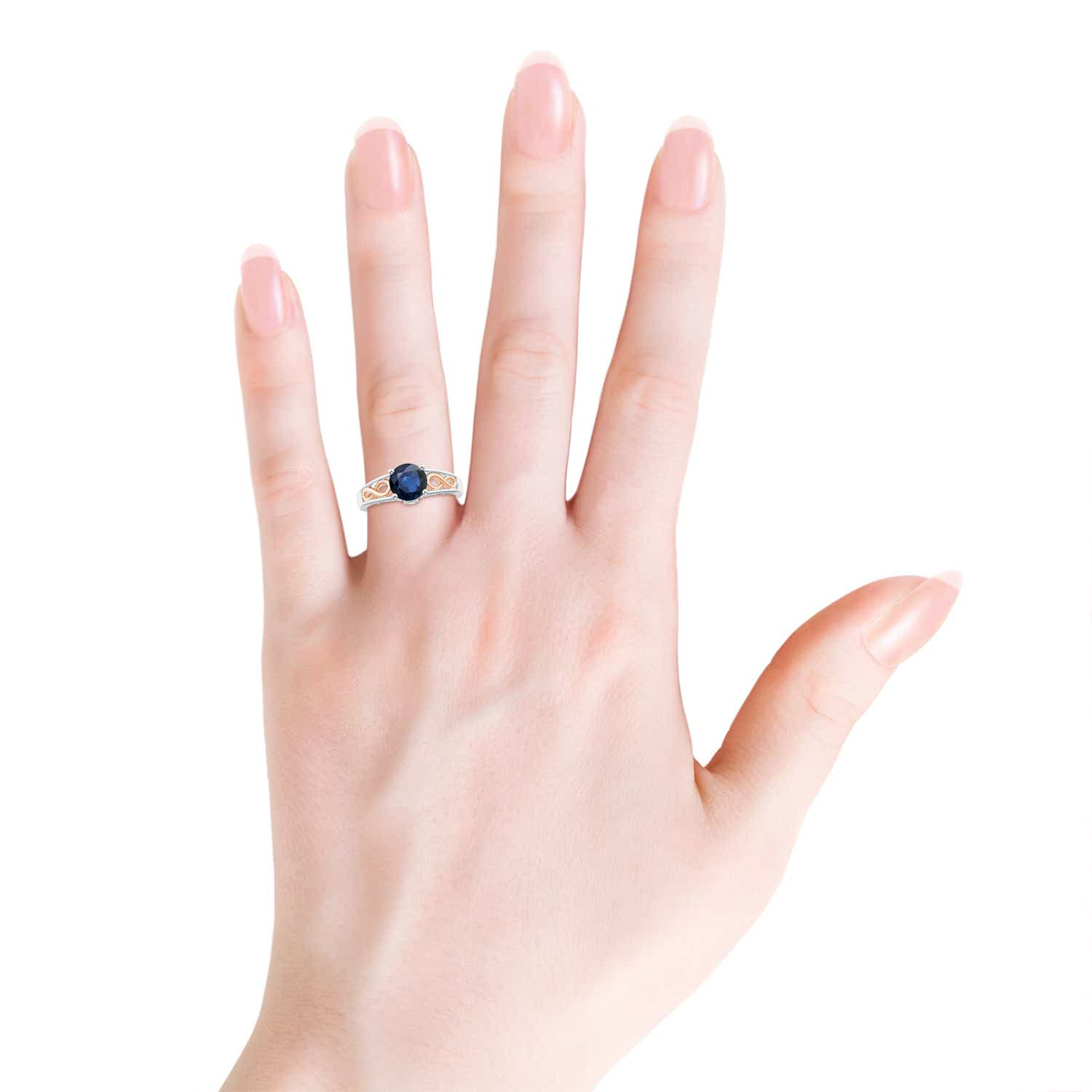 Solitaire Blue Sapphire Wedding Ring in Two Tone - Angara.com