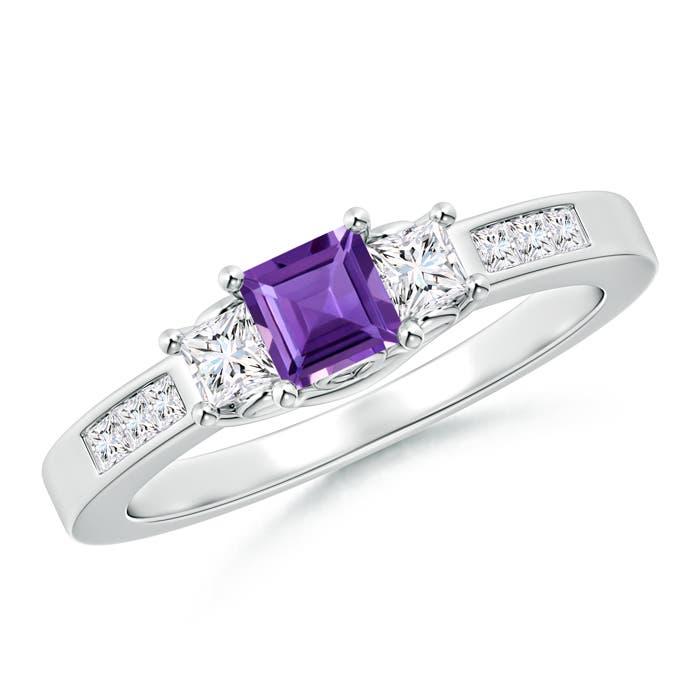 Square Amethyst and Princess Diamond Three Stone Ring - Angara.com
