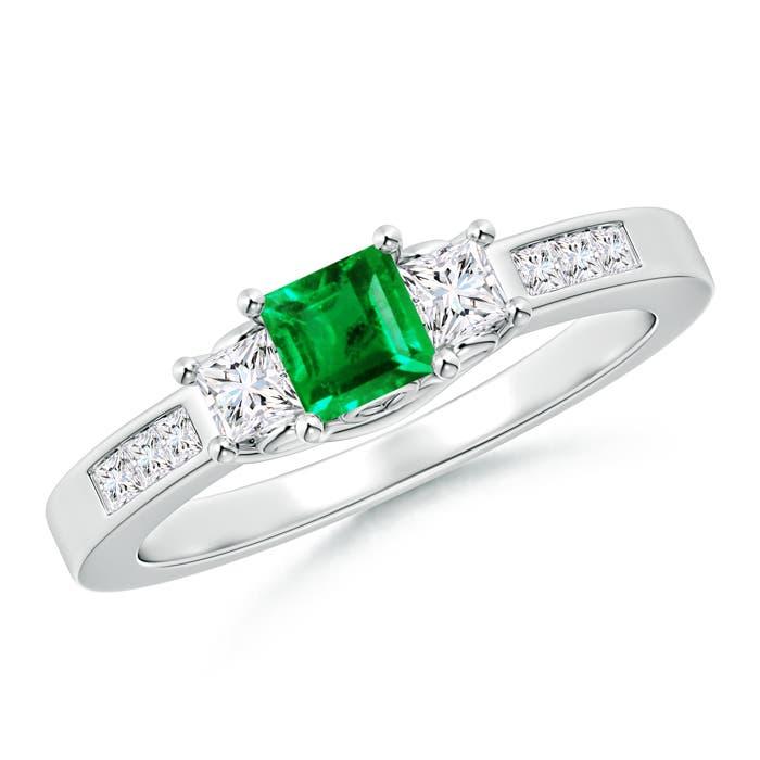 Square Emerald and Princess Diamond Three Stone Ring - Angara.com