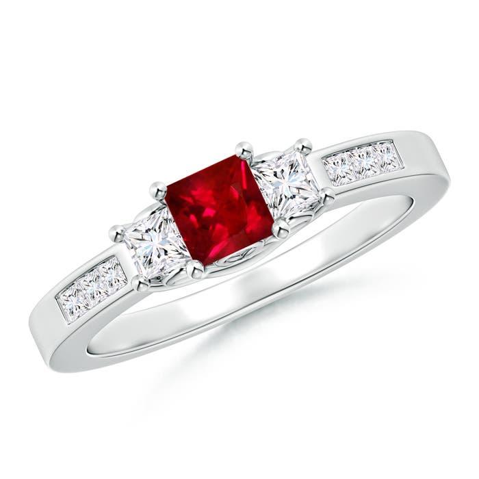 Square Ruby and Princess Diamond Three Stone Ring - Angara.com