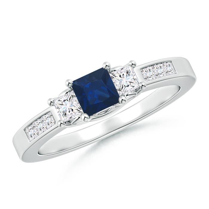 Square Sapphire and Princess Diamond Three Stone Ring - Angara.com