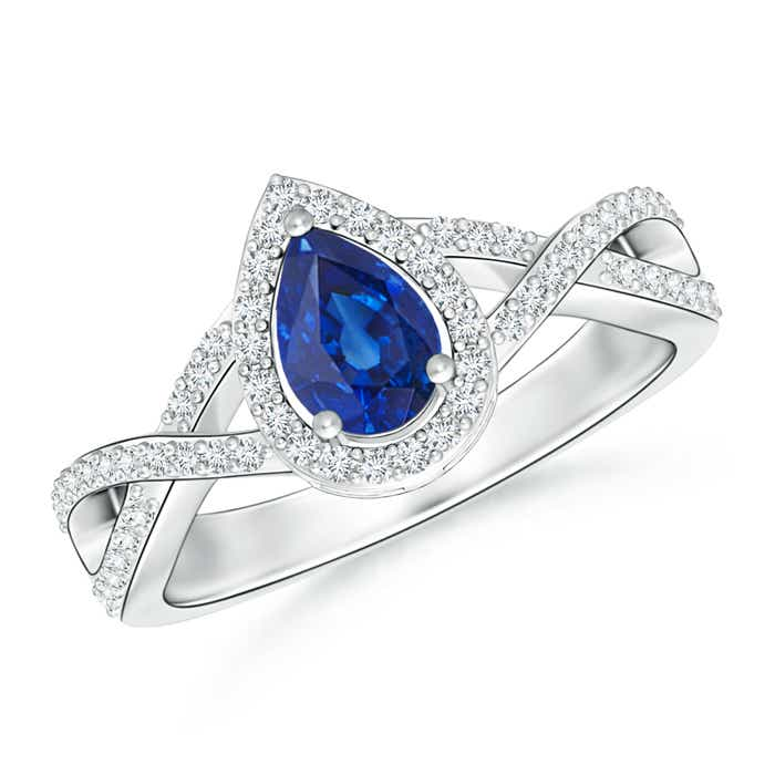 Twist Shank Pear Blue Sapphire Ring with Diamond Halo - Angara.com