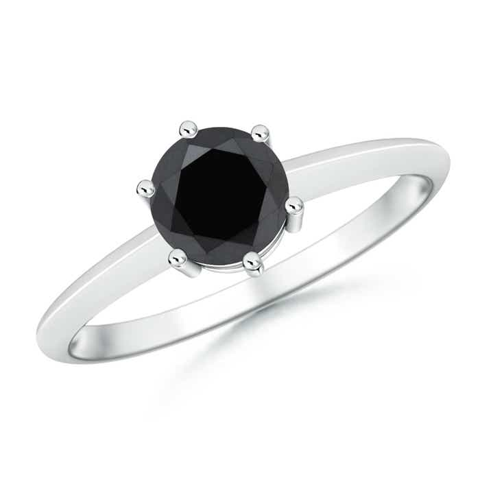 6 Prong Round Enhanced Black Diamond Solitaire Engagement Ring - Angara.com