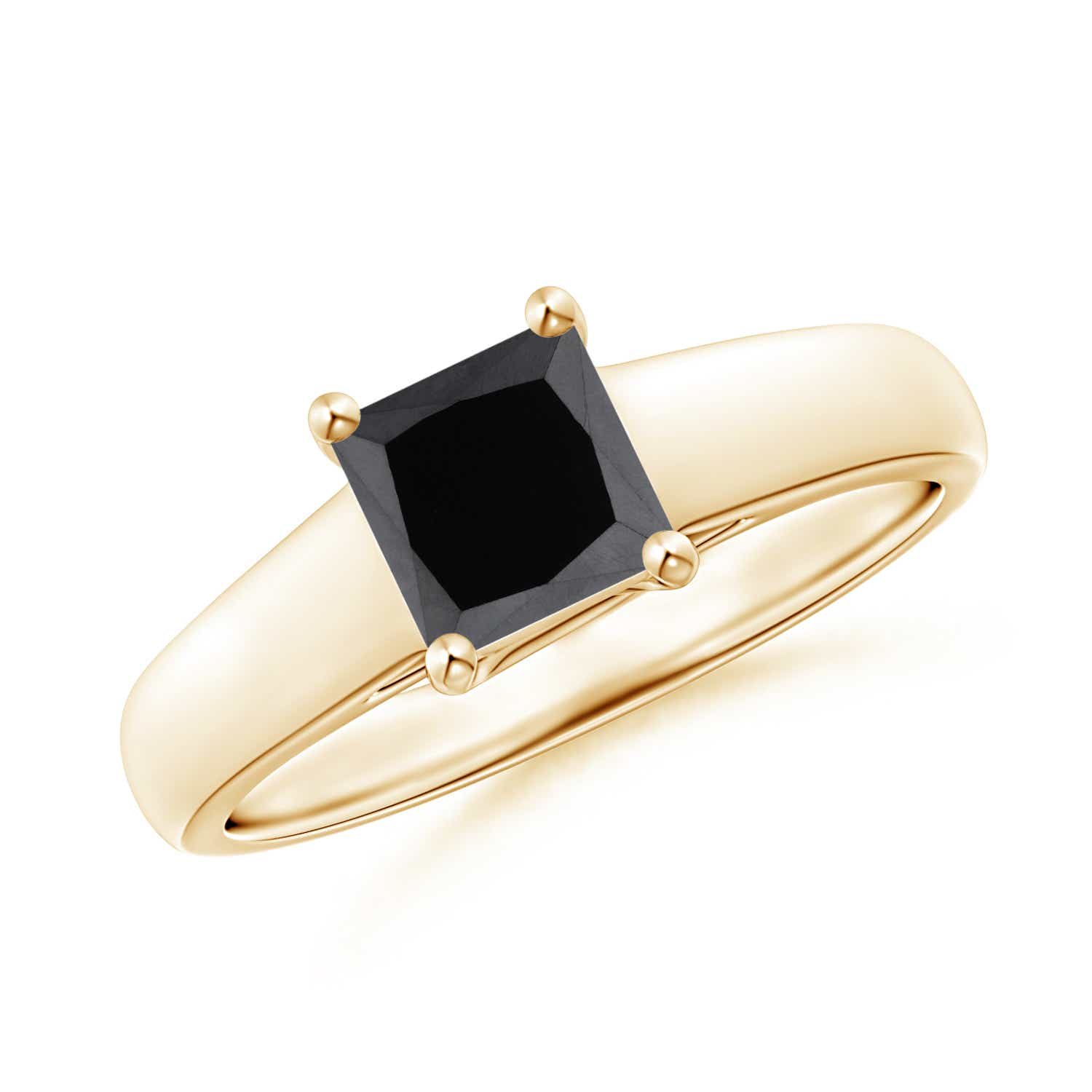 Angara Classic Solitaire Princess Black Diamond Ring(5.5mm) in 14k Rose Gold Msdn4m7