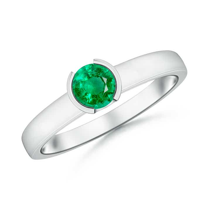 Angara Solitaire Bezel Heart Emerald Ring with Diamond