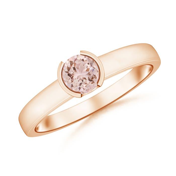 Classic Solitaire Half Bezel Morganite Engagement Ring - Angara.com
