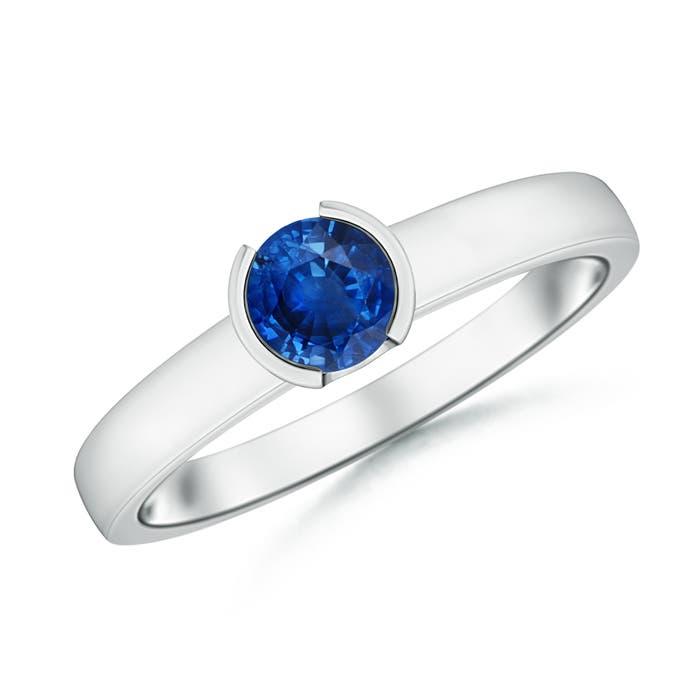 Classic Solitaire Half Bezel Sapphire Engagement Ring - Angara.com