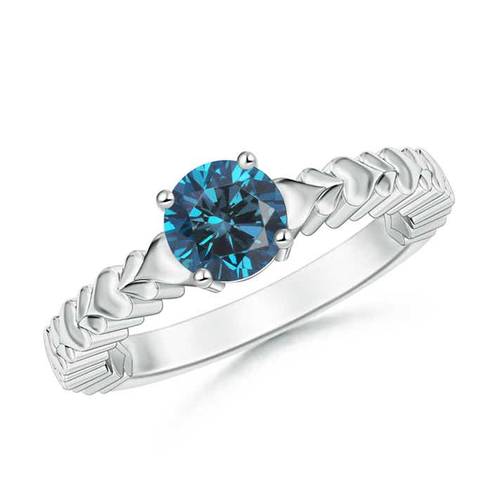 Round Enhanced Blue Diamond Solitaire Ring with Heart Carving - Angara.com