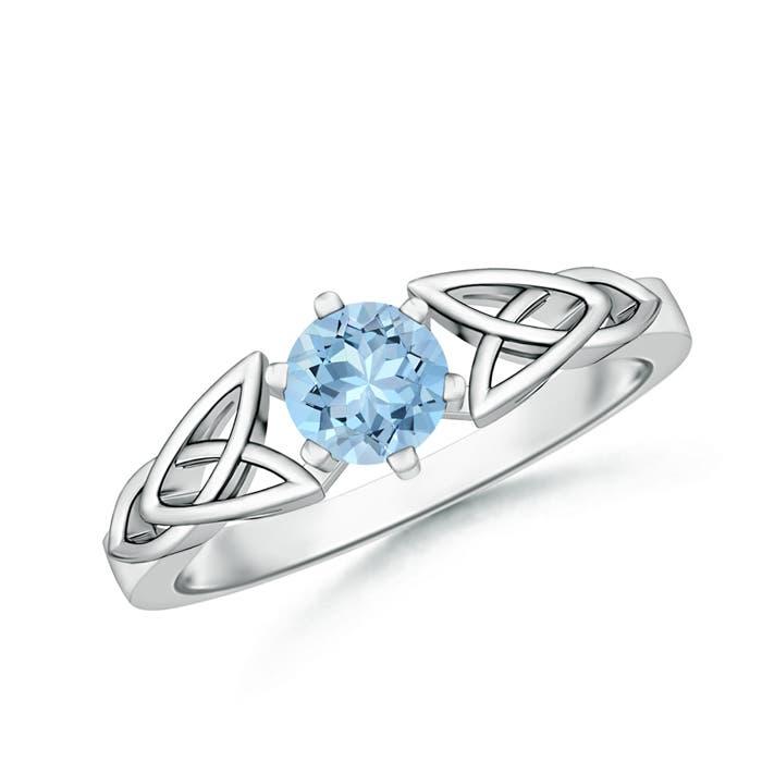 Solitaire Round Aquamarine Celtic Knot Ring - Angara.com