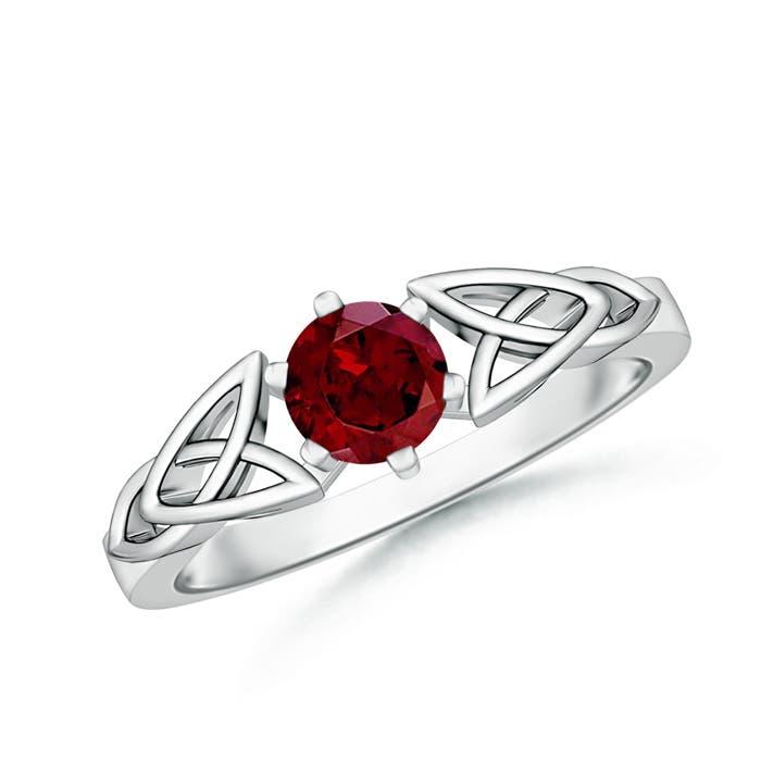 Solitaire Round Garnet Celtic Knot Ring - Angara.com