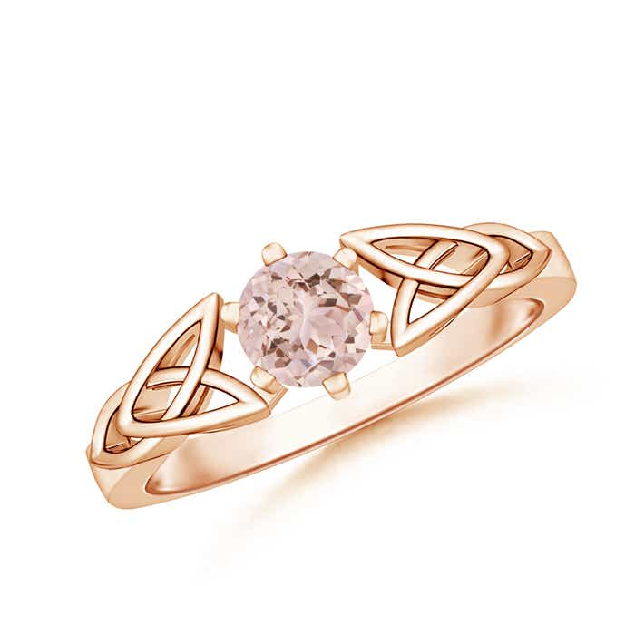 Solitaire Round Morganite Celtic Knot Ring - Angara.com