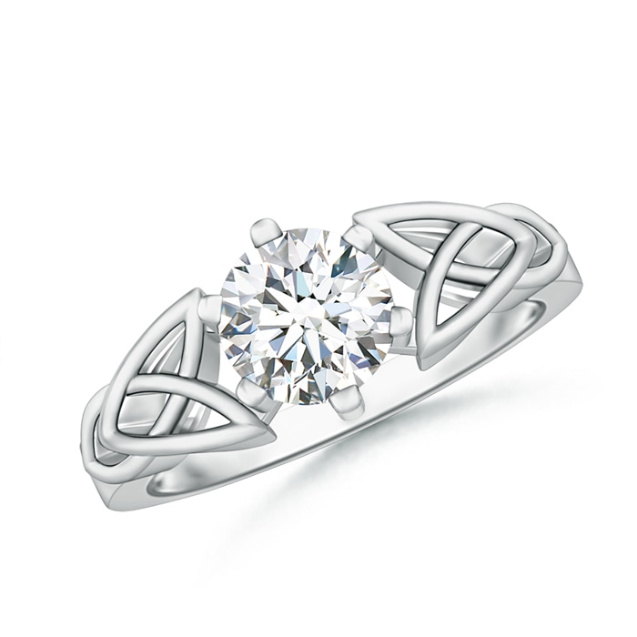 Solitaire Round Moissanite Celtic Knot Ring - Angara.com