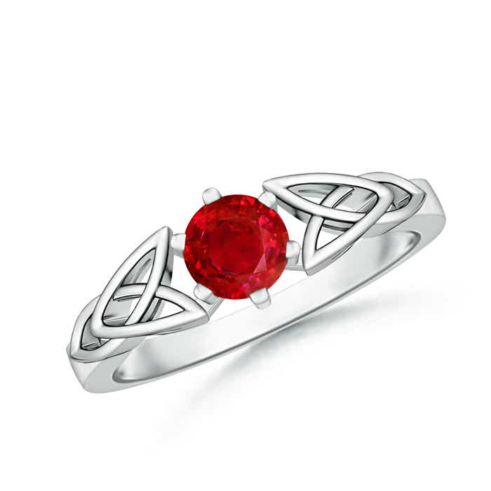 Solitaire Round Ruby Celtic Knot Ring - Angara.com