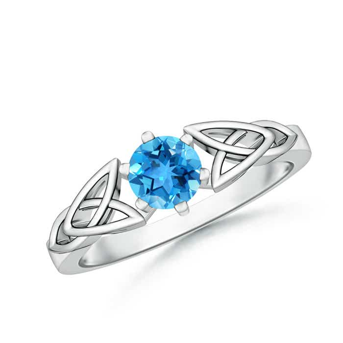 Solitaire Round Swiss Blue Topaz Celtic Knot Ring - Angara.com