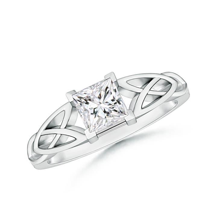 Solitaire Princess Cut Diamond Celtic Knot Ring - Angara.com