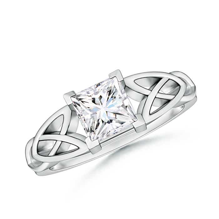 Solitaire Square Moissanite Celtic Knot Ring - Angara.com