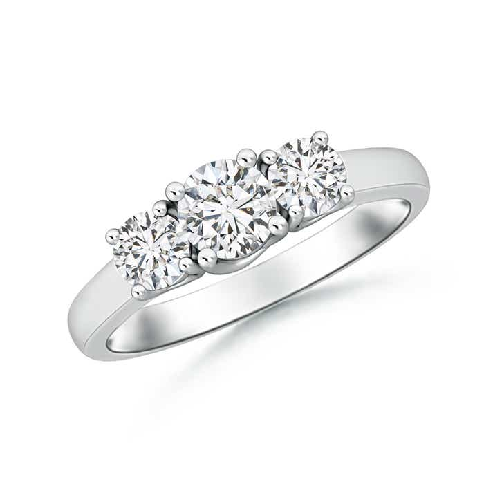 Classic Three Stone Round Diamond Engagement Ring
