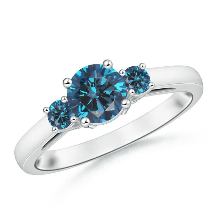 Round Enhanced Blue Diamond Past Present Future Engagement Ring - Angara.com
