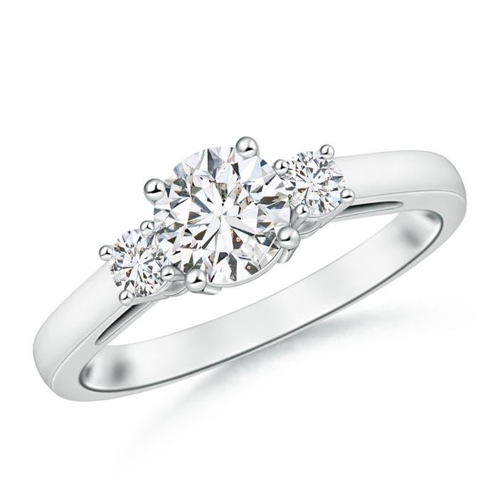 Round Diamond Past Present Future Engagement Ring - Angara.com