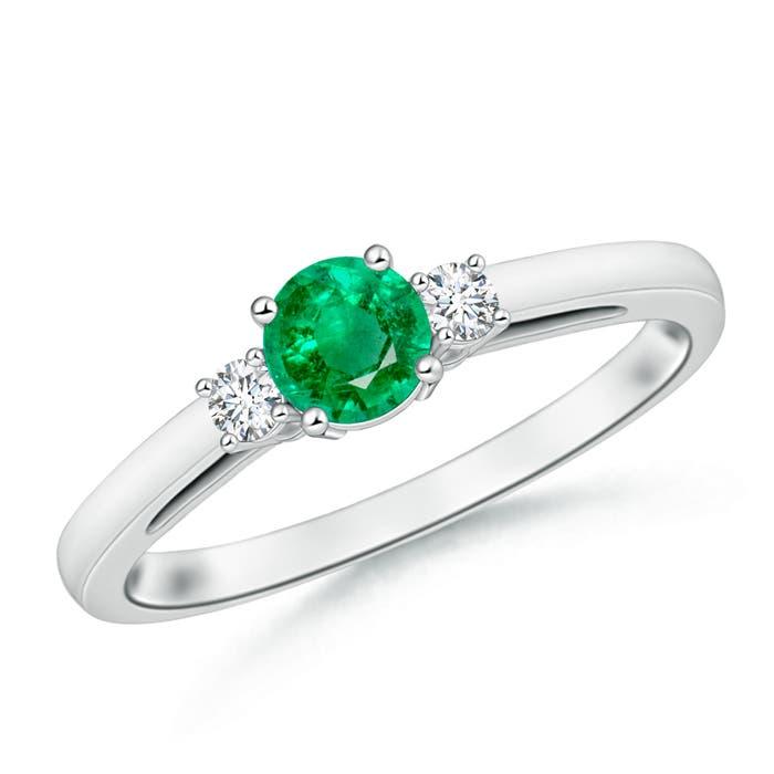 Round Emerald Past Present Future Engagement Ring - Angara.com