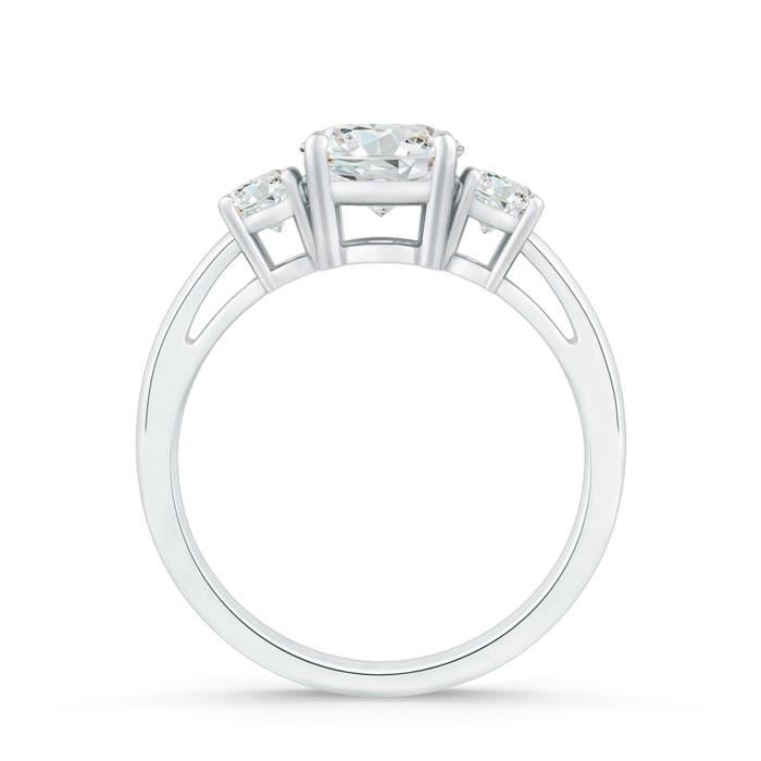 Round Moissanite Three Stone Engagement Ring