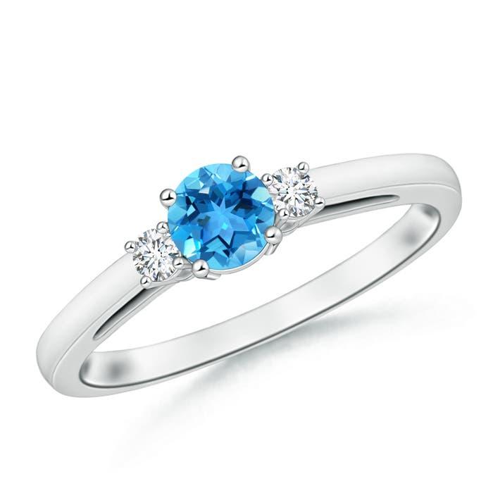 Round Swiss Blue Topaz Past Present Future Engagement Ring - Angara.com