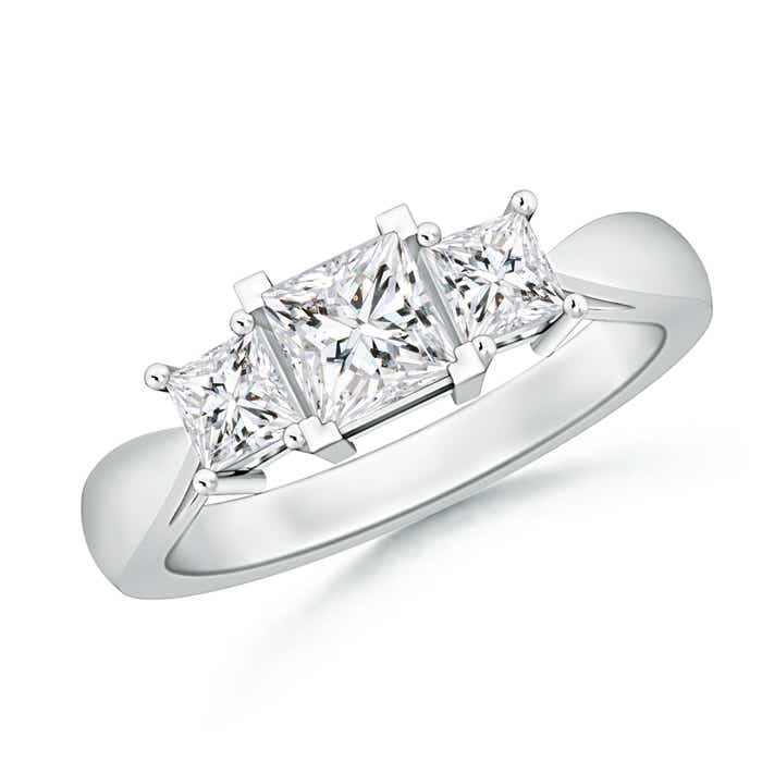 Tapered Shank 3 Stone Princess Cut Diamond Ring - Angara.com