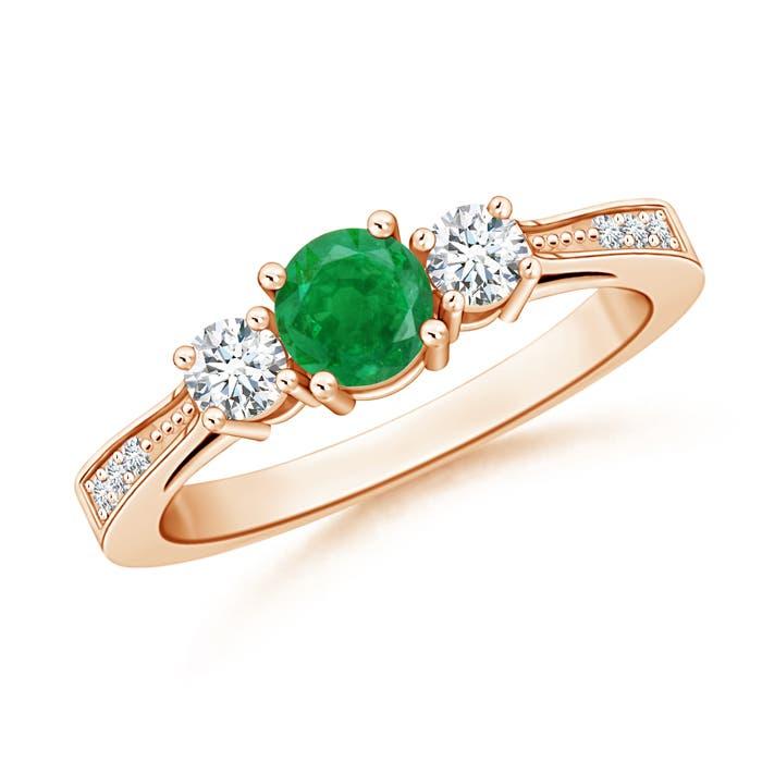 Cathedral Three Stone Emerald & Diamond Engagement Ring