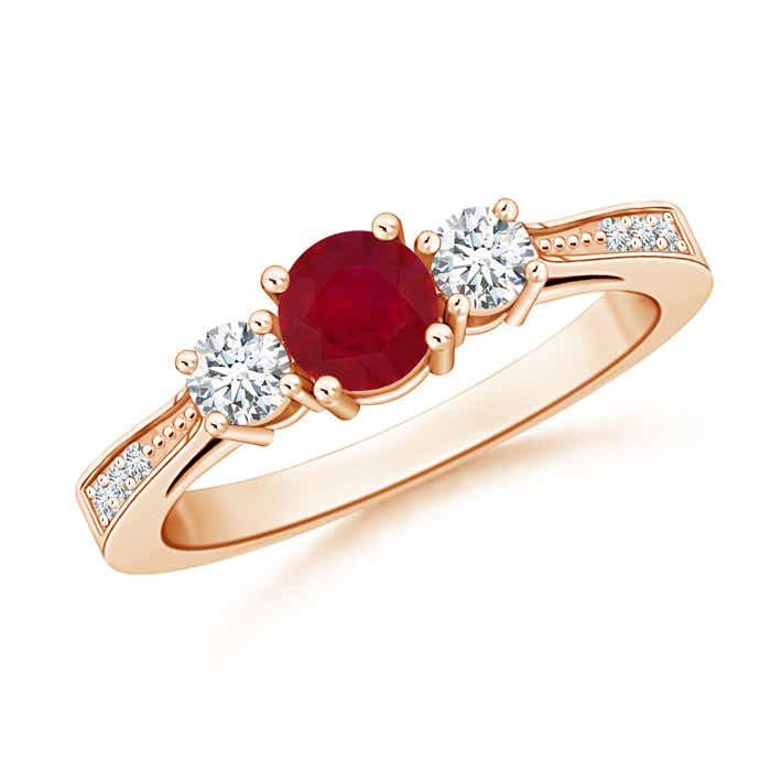 Cathedral Three Stone Ruby & Diamond Engagement Ring