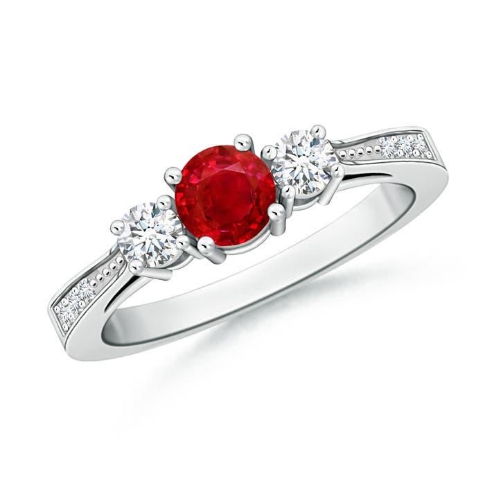 Cathedral Three Stone Round Ruby Engagement Ring - Angara.com