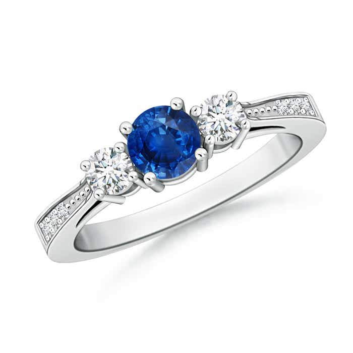 Cathedral Three Stone Round Sapphire Engagement Ring - Angara.com