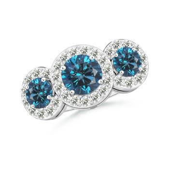 Triple Halo Enhanced Blue Diamond Three Stone Engagement Ring - Angara.com