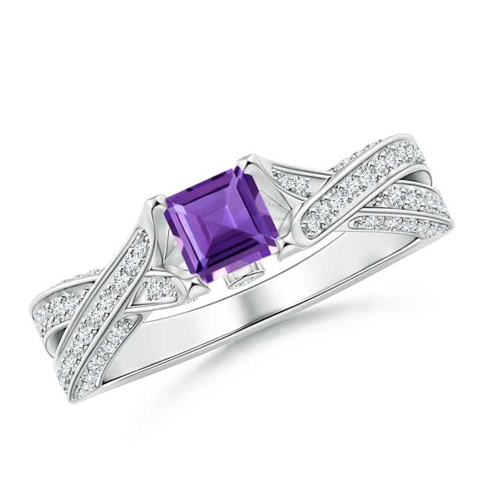 Solitaire Square Amethyst Crossover Engagement Ring - Angara.com