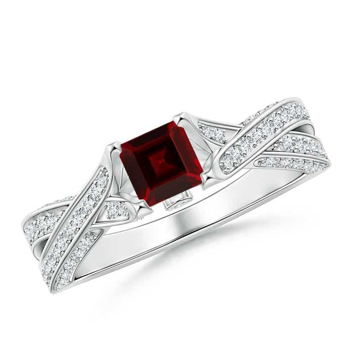 Solitaire Square Garnet Crossover Engagement Ring - Angara.com