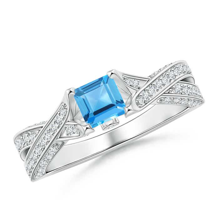 Solitaire Square Swiss Blue Topaz Crossover Engagement Ring - Angara.com