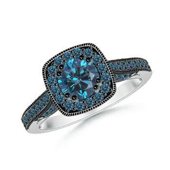 Round Enhanced Blue Diamond Halo Ring with Cushion Milgrain Detailing - Angara.com