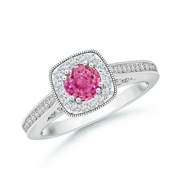 Round Pink Sapphire Halo Ring with Cushion Milgrain Detailing - Angara.com