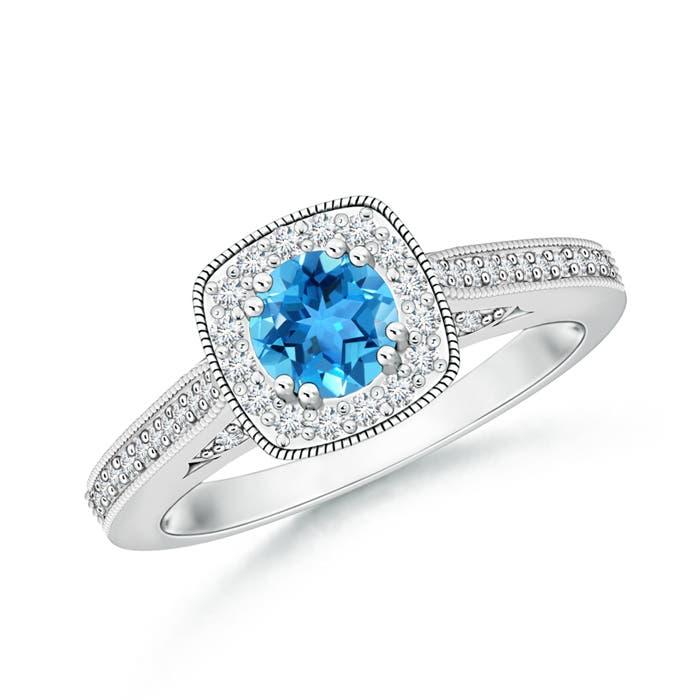 Swiss Blue Topaz and Diamond Cushion Halo Ring with Milgrain - Angara.com