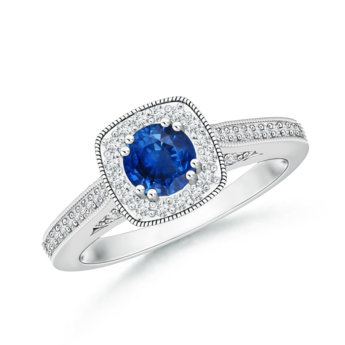 Round Sapphire Halo Ring with Cushion Milgrain Detailing - Angara.com